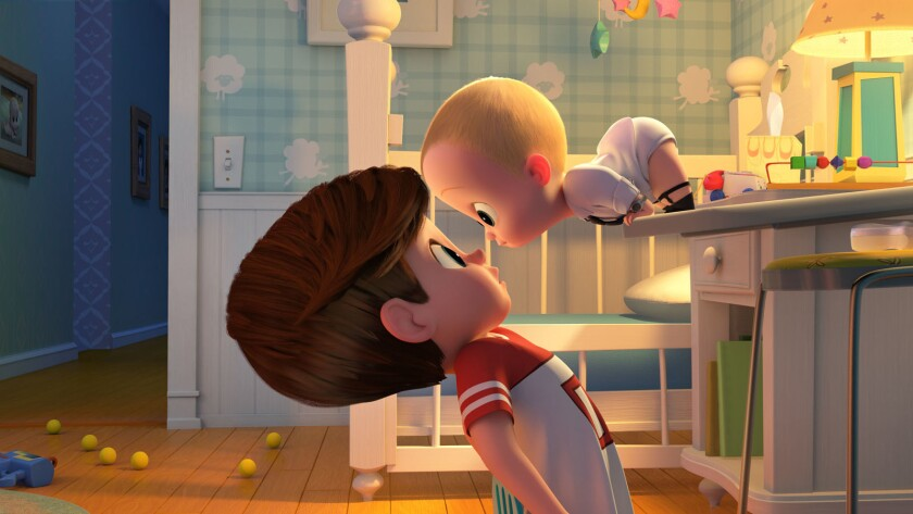 """Tim (voiced by Miles Bakshi) is confronted by his family's newest member (voiced by Alec Baldwin) in """"The Boss Baby."""""""