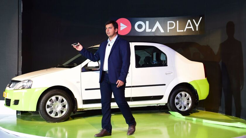 Ola co-founder and CEO Bhavish Aggarwal announced Ola Play at a news conference in Bangalore, India, on Tuesday.
