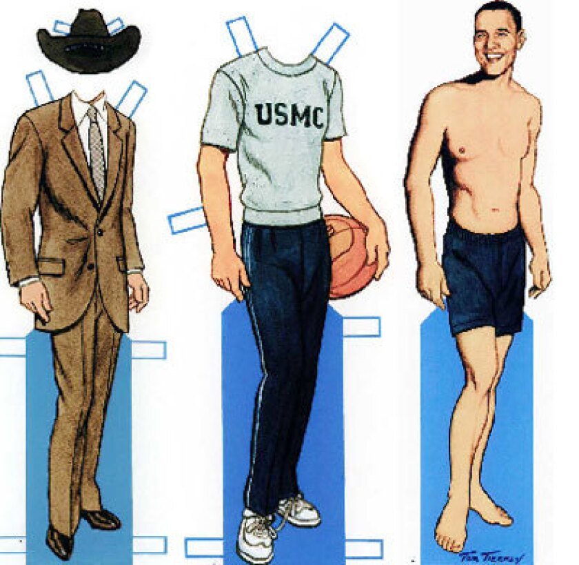 Put him in a Western-style suit and hat, or sweats to shoot hoops with troops in Djibouti.