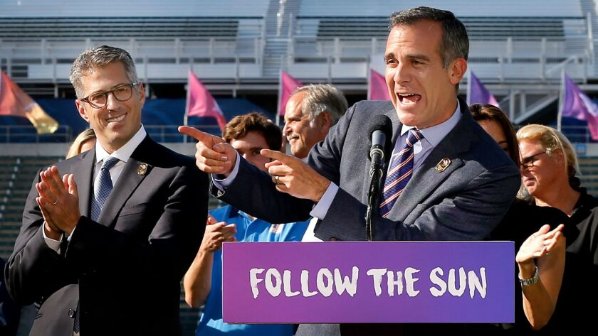 CARSON, CALIF. -- MONDAY, JULY 31 2017: Mayor Eric Garcetti, right, celebrates the U.S. Women's Soc