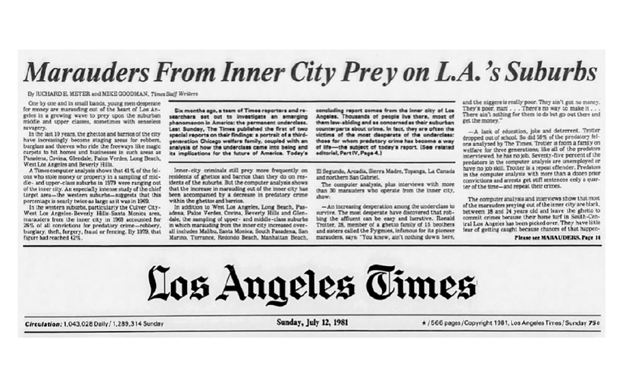 "Headline reads ""Marauders from inner city prey on LA's suburbs"" at the top of a 1981 Los Angeles Times front page"