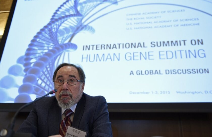Nobel laureate David Baltimore of Caltech speaks to reporters at an international summit on the safety and ethics of human gene editing held in Washington.