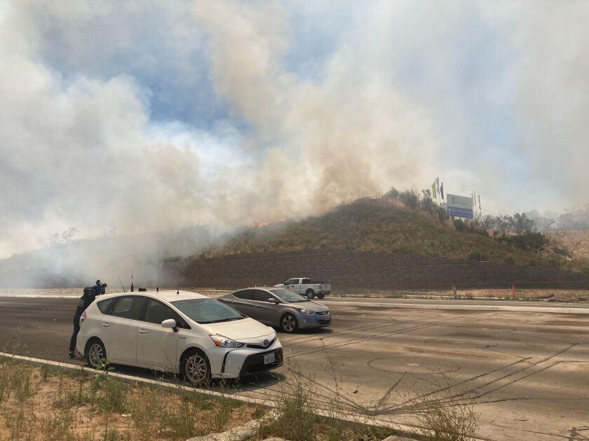 Smoke from fire in Otay Ranch