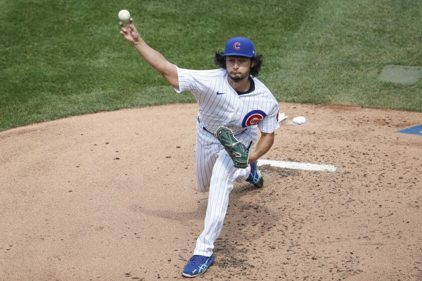 Chicago Cubs starting pitcher Yu Darvish in August game.