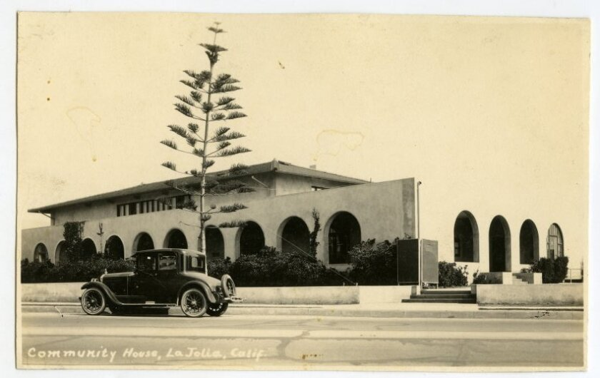 The La Jolla Rec Center, then called the Community House, as seen on a 1920s postcard.