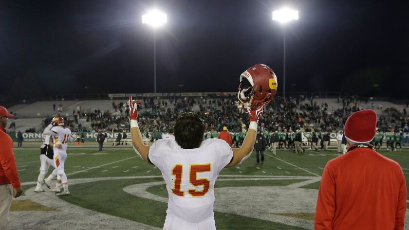 Cathedral Catholic running back Shawn Poma savors the Dons' win in the state final.