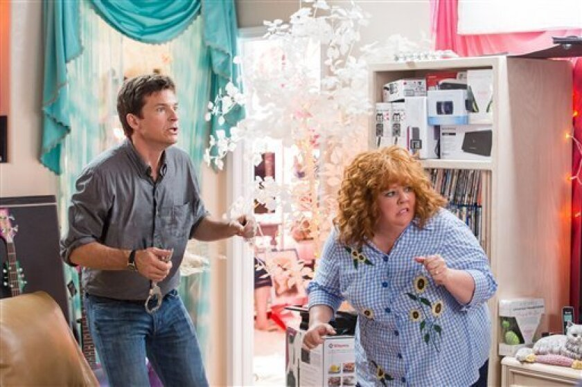 """FILE -This undated publicity file image released by Universal Pictures shows Jason Bateman, left, and Melissa McCarthy in a scene from, """"Identity Thief."""" As of Sunday, Feb. 24, 2013, """"Identity Thief"""", with a cumulative total of $93.7 million viewers, is the biggest hit so far in 2013. (AP Photo/Universal Pictures)"""