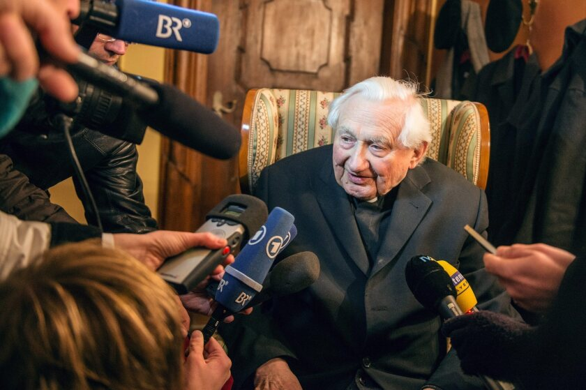 Georg Ratzinger, brother of Pope Benedict XVI, speaks to reporters Monday at his home in Regensburg, Germany.