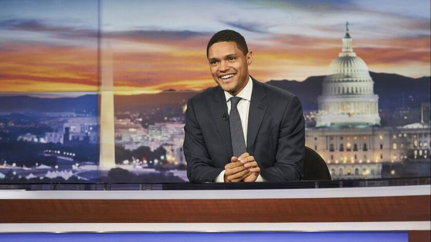 "Trevor Noah on the set of ""The Daily Show."" Credit: Sean Gallagher"
