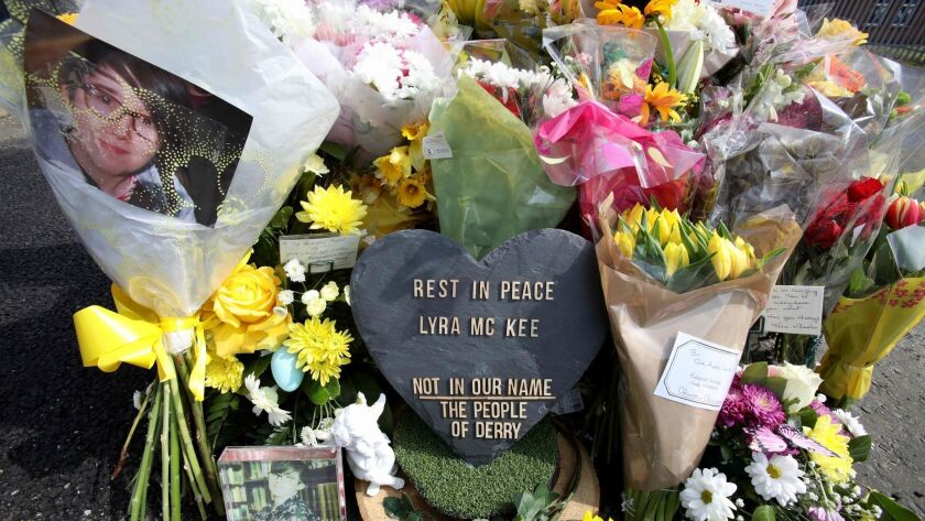 Floral tributes to journalist Lyra McKee at the site of her shooting death.