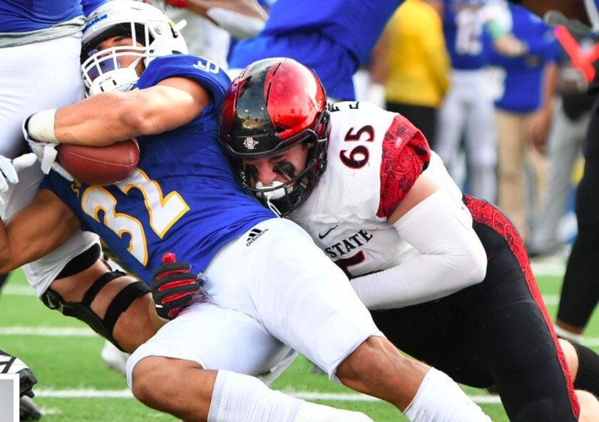 San Diego State defensive lineman Cameron Thomas is a two-time first-team all-Mountain West selection.