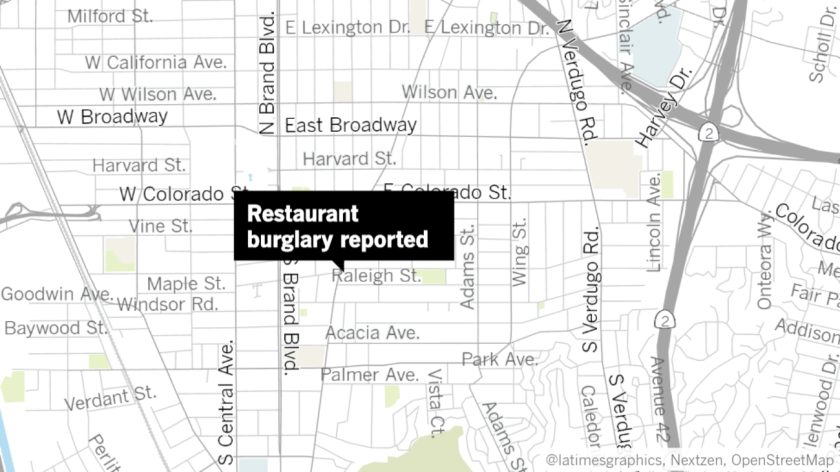 A restaurant burglary in Glendale on Tuesday led to a car chase that ended with a crash in Pasadena and two men arrested in connection to the crime. Two more men remain on the run from police.