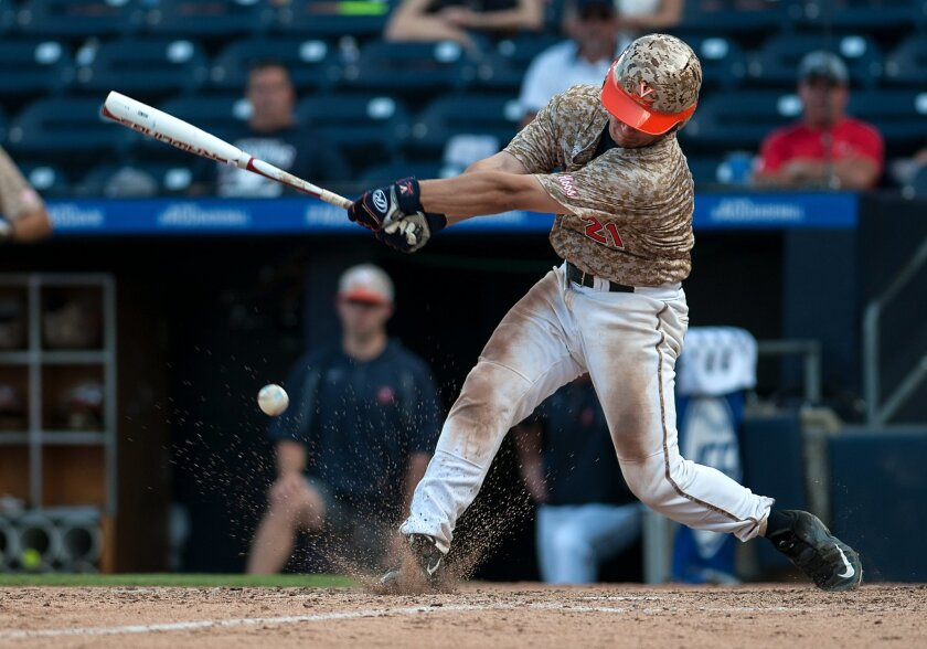 Virginia's Matt Thaiss swings at a pitch during the eighth inning against Wake Forest in an Atlantic Coast Conference college baseball tournament game Friday, May 27, 2016, in Durham, N.C. (Kaitlin McKeown/The Herald-Sun via AP)