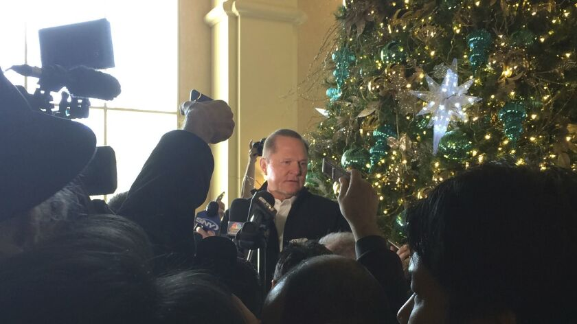 Baseball agent Scott Boras speaks to the media during the Major League Baseball winter meetings in L
