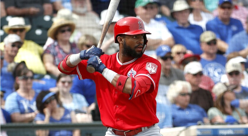 Los Angeles Angels' Jo Adell hits against the Kansas City Royals during the second inning of a sprin
