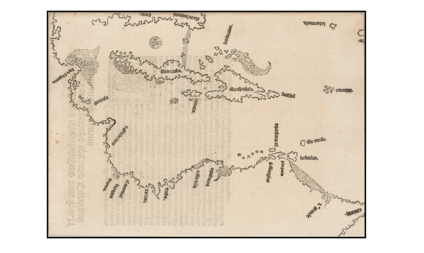 Florida is depicted on this map of the Caribbean (near the top, as 'illa de beimeni') two years before it was 'discovered' by Ponce de Leon.
