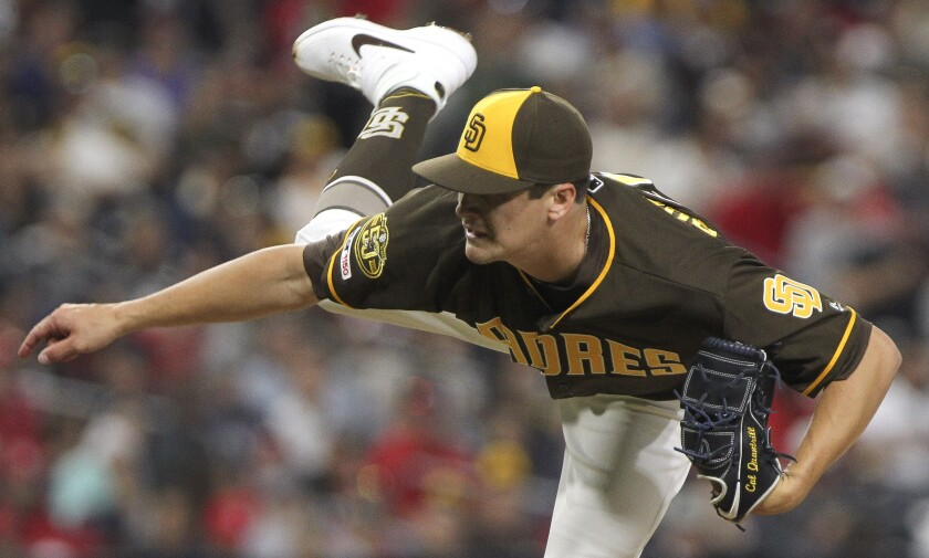 Padres' Cal Quantrill pitches to the Cardinals in the sixth inning at Petco Park on June 28.