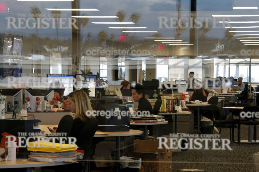 The Orange County Register newsroom, seen in a 2012 file photo. Did the Justice Department do its readers a favor?