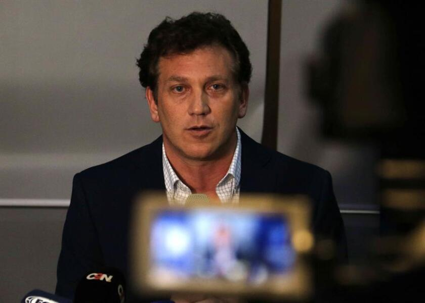 President of the South American Football Confederation (Conmebol) Alejandro Dominguez speaks during a press conference at the headquarters of the Conmebol, in Luque, Paraguay, 29 November 2018. The second leg of the 2018 Copa Libertadores soccer match final between River Plate and Boca Juniors will be played the upcoming 09 December at Santiago Bernabeu stadium in Madrid, Spain, according a Conmebol decision announced today. EPA-EFE/FILE/Andrés Cristaldo