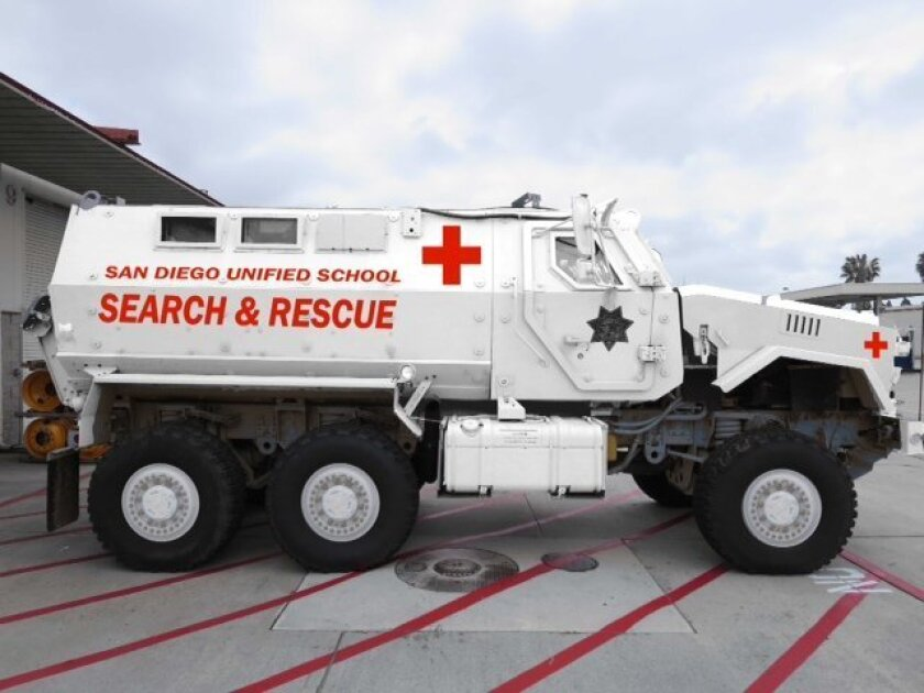 San Diego school officials have decided to return an armored military vehicle to the Department of Defense.