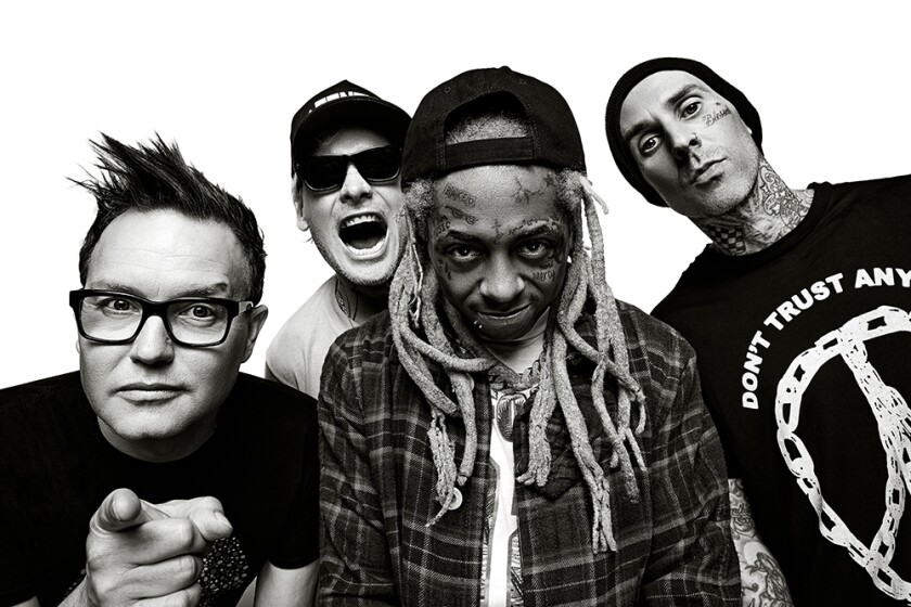The Poway-bred pop-punk trio blink-182 will tour with rapper Lil Wayne this summer. Shown above, from left, are Mark Hoppus, Matt Skiba, Lil Wayne and Travis Barker.