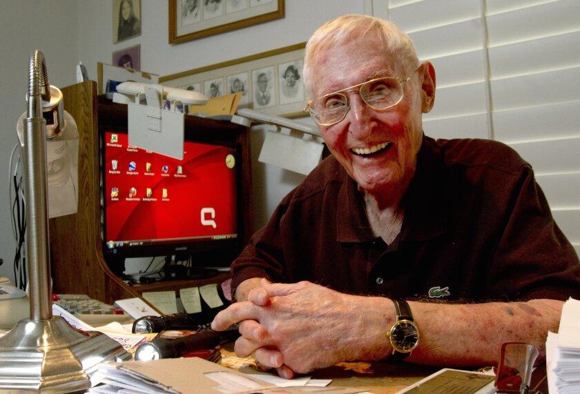 Wally Taibleson, a 90-year-old student at Cal State San Marcos, at his Carlsbad home.