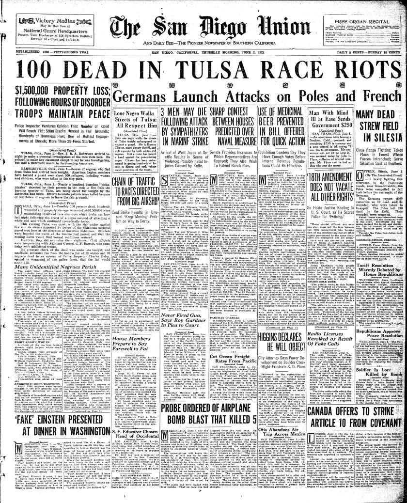 June 2, 1921, front page