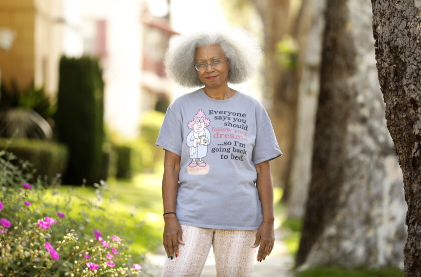 Jacquelyn Temple, 72, is photographed outside her home in Leimert Park.