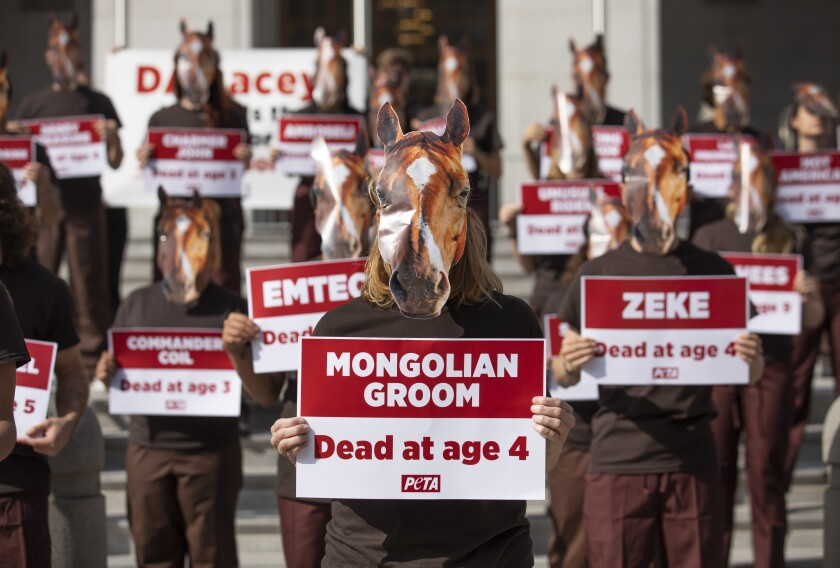 Demonstrators with PETA protest horse racing deaths outside the office of L.A. County Dist. Atty. Jackie Lacey.