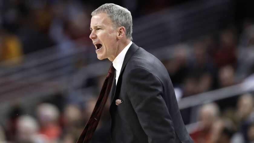 USC coach Andy Enfield argues a call during a game against Oregon State on Feb. 23 at Galen Center.