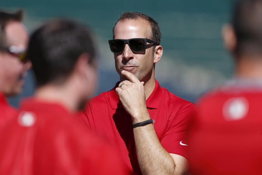 Angels general manager Billy Eppler at spring training at Tempe Diablo Stadium in Tempe, Ariz.