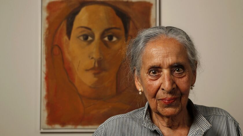LOS ANGELES, CA-JUNE 15, 2018: Painter Luchita Hurtado, 97, is photographed next to her artwork, an