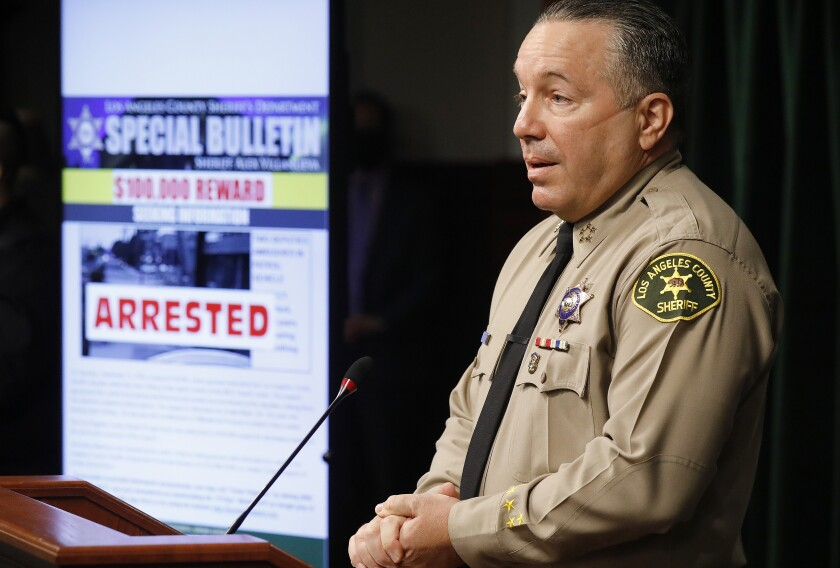 Los Angeles County Sheriff Alex Villanueva speaks at a news conference in Los Angeles on Sept. 30.