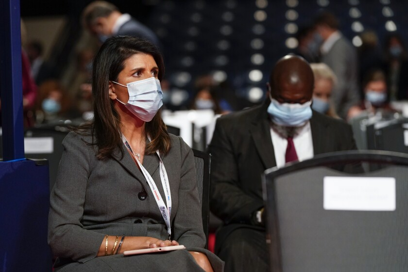 Former U.S. Ambassador to the UN Nikki Haley takes her seat before the start of the second and final presidential debate Thursday, Oct. 22, 2020, at Belmont University in Nashville, Tenn. (AP Photo/Patrick Semansky)