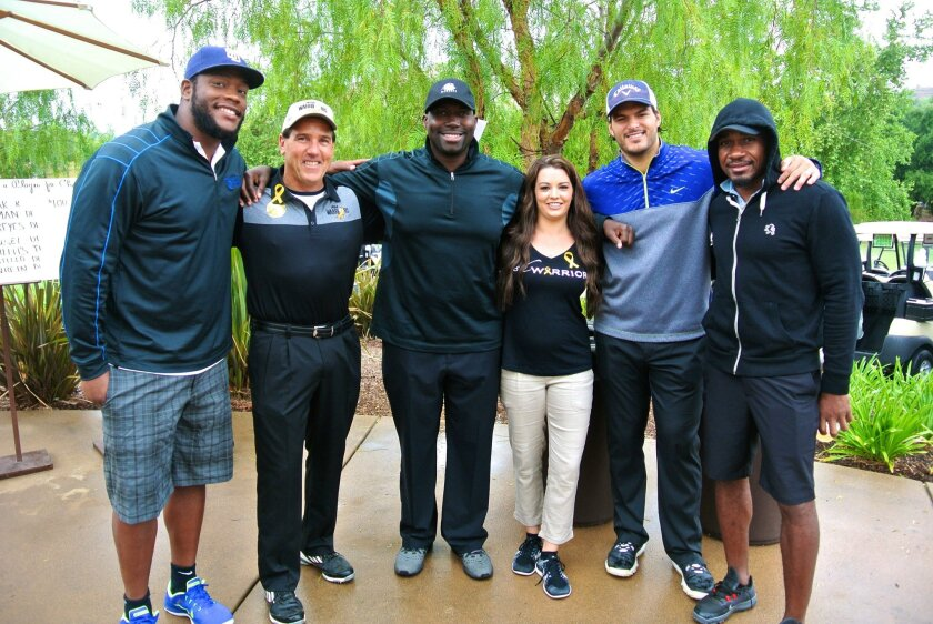 L-R: Charger Kendall Reyes, Dr. Robert Bjork, former Charger Jacques Cesaire, Wish Warriors founder Brianna King, former Chargers Luis Castillo and Quentin Jammer.