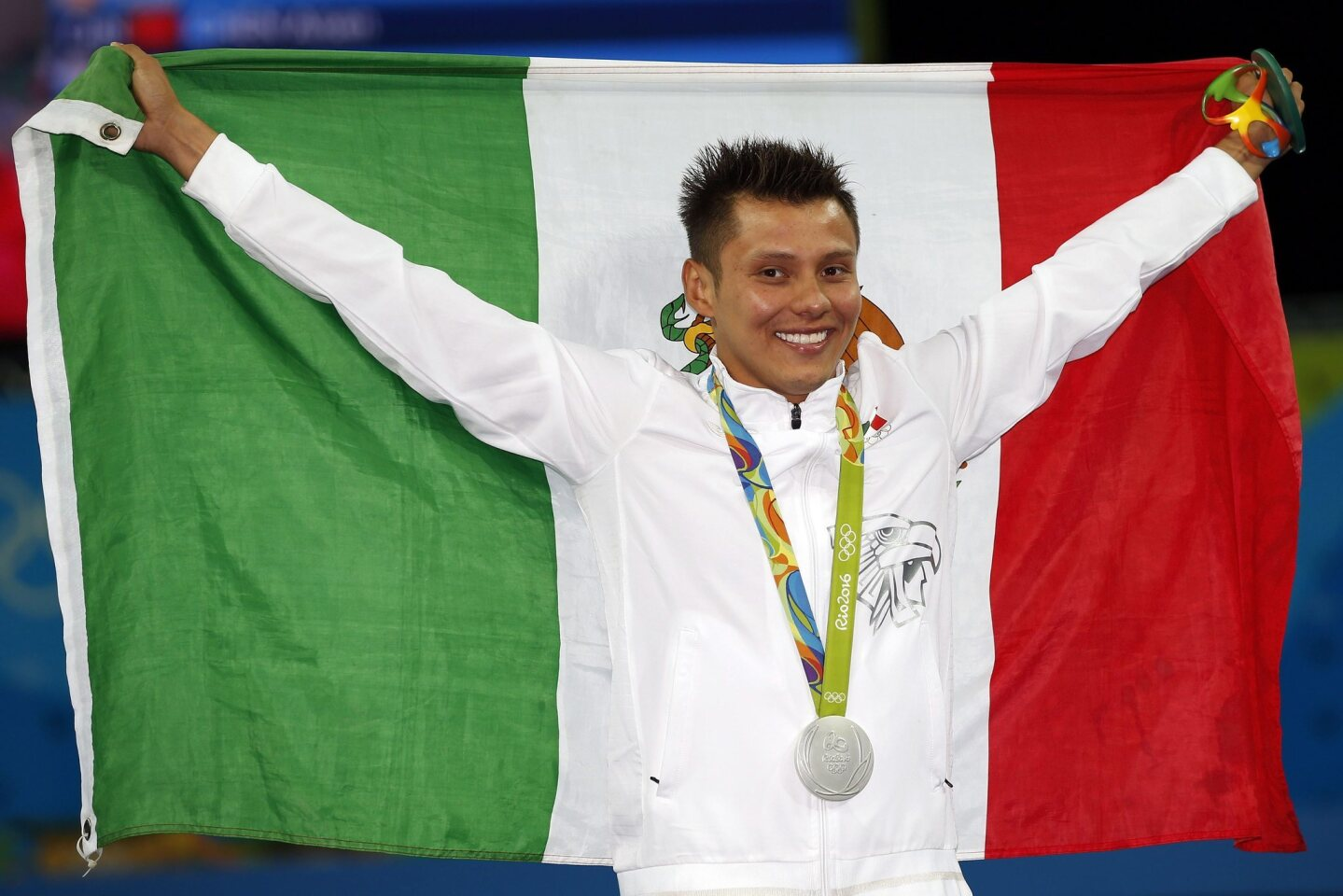 German Sanchez of Mexico poses with his Silver medal after finishing second during the Rio 2016 Olympic Games Men's 10m Platform Diving Final at the Maria Lenk Aquatics Centre in the Olympic Park in Rio de Janeiro, Brazil.