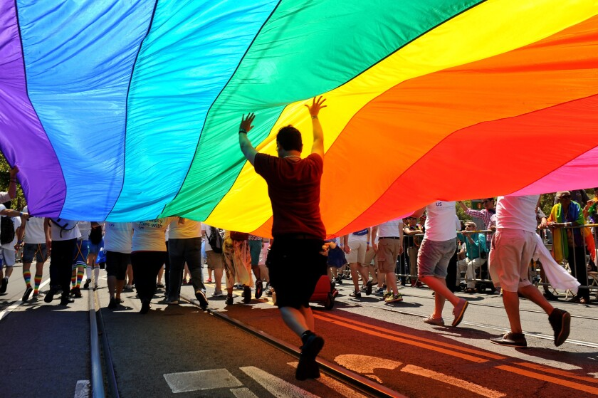 A rainbow flag, a universal symbol for gay civil rights, is carried down San Francisco's Market Street in the city's annual Gay Pride parade on June 30, 2013.