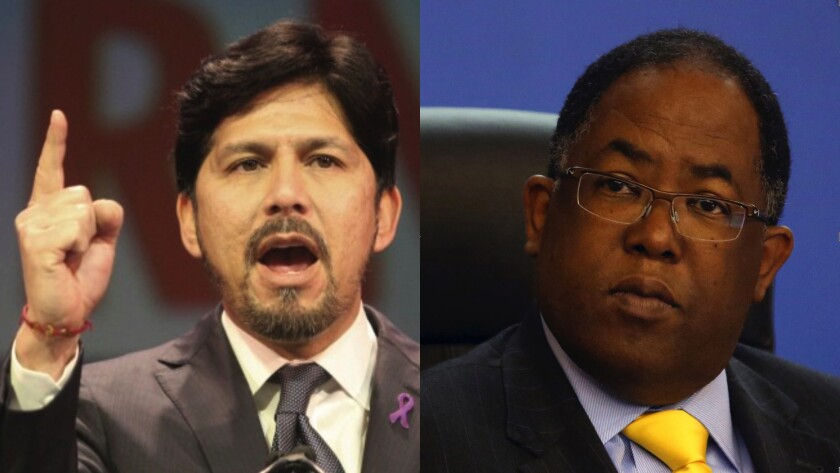 Former state Sen. Kevin de León and L.A. County Supervisor Mark Ridley-Thomas