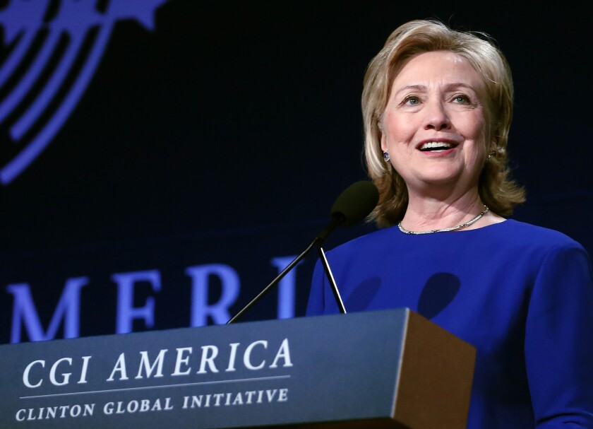 Former Secretary of State Hillary Rodham Clinton speaks at the Clinton Global Initiative America in Denver.