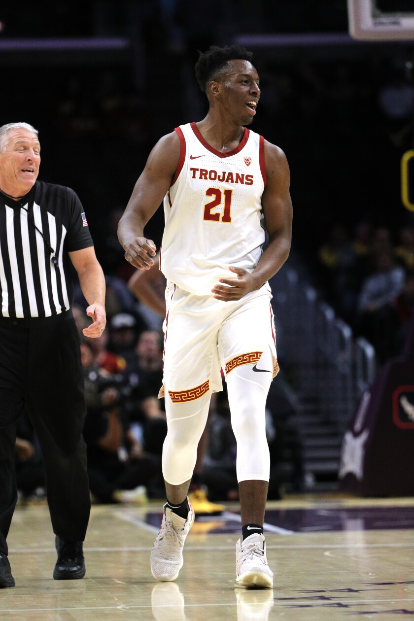 USC forward Onyeka Okongwu reacts against LSU in the 2019 Air Force Reserve Basketball Hall of Fame Classic at Staples Center on Dec. 21, 2019.