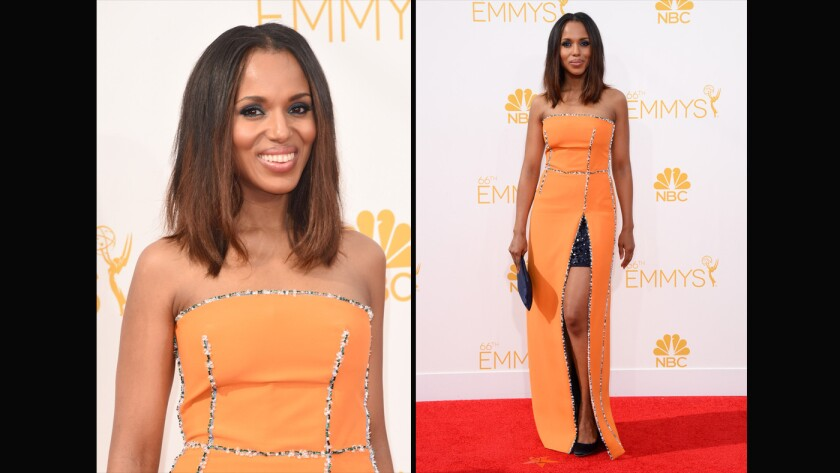 Kerry Washington in Prada. This orange-is-the-new-black column gown had everything -- bold color, a high slit, chic sparkly underskirt and beaded edges. Unusual in the best way.