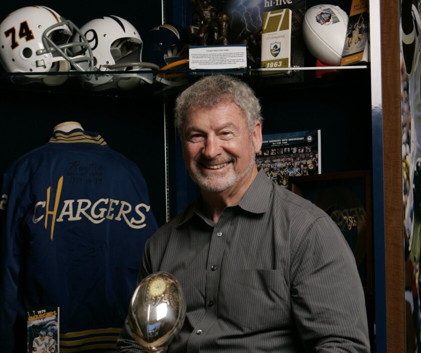 Ron Mix during a 2009 visit to Chargers Park.
