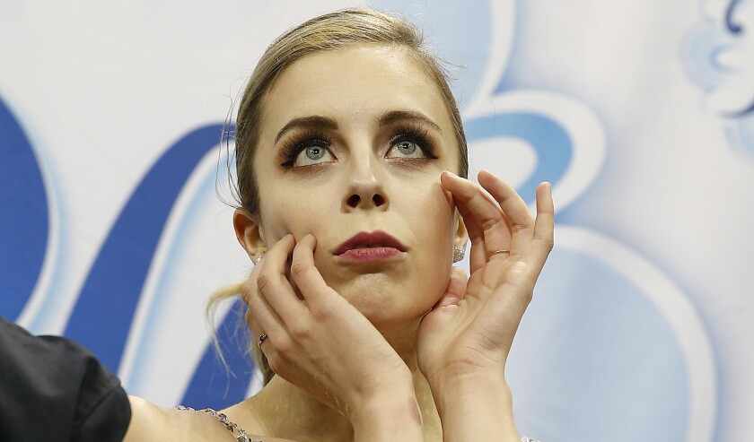 Ashley Wagner waits for her scores during the women's free skate competition at the 2018 U.S. Figure Skating Championships in San Jose.