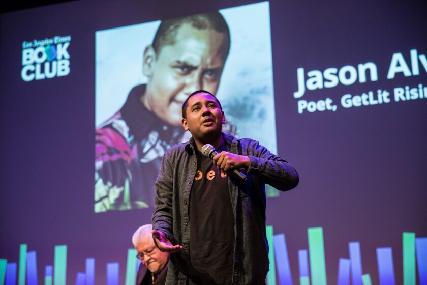 The book club evening included a performance by 18-year-old Jason Alvarez of Get Lit, a group of young spoken-word poets.