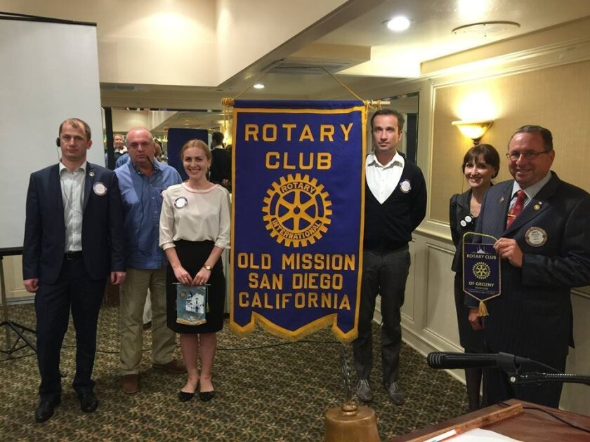 Six visitors from a Rotary Club in Grozny, Chechen Republic, were hosted by the Del Mar Rotary recently.