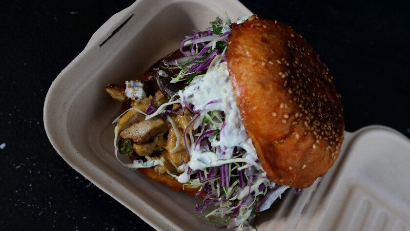The Silvertongues chicken sandwich on the Mad Pambazos food truck.