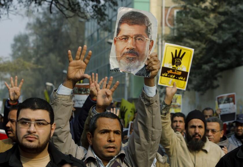 Supporters of Egypt's deposed Islamist President Mohamed Morsi demonstrate in Cairo for his reinstatement.