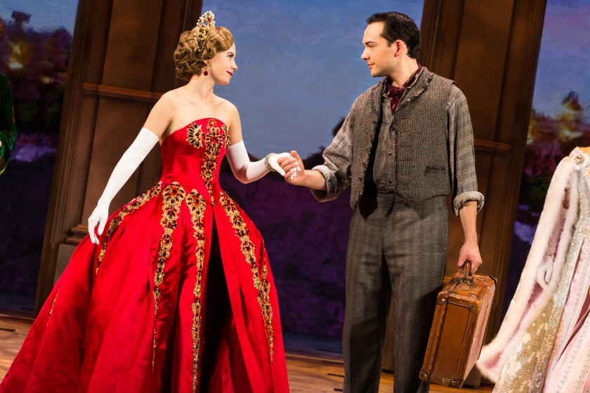 "Lila Coogan (as Anya) and Stephen Brower (Dmitry) in the national touring production of ""Anastasia."""