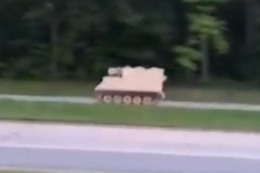 Virginia State Police chased the armored personnel carrier, seen here in video, from Fort Pickett to Richmond.