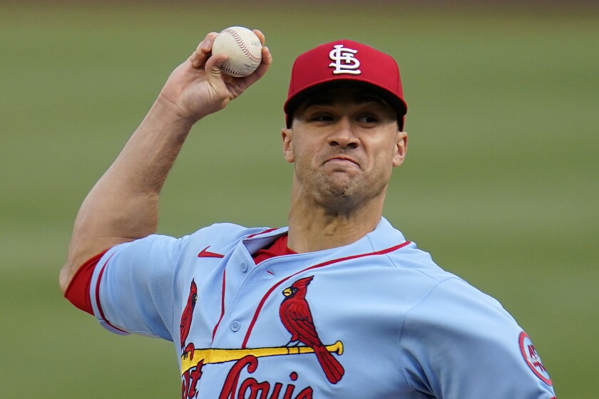 St. Louis Cardinals starting pitcher Jack Flaherty delivers during the first inning of the team's baseball game against the Pittsburgh Pirates in Pittsburgh, Saturday, May 1, 2021.(AP Photo/Gene J. Puskar)